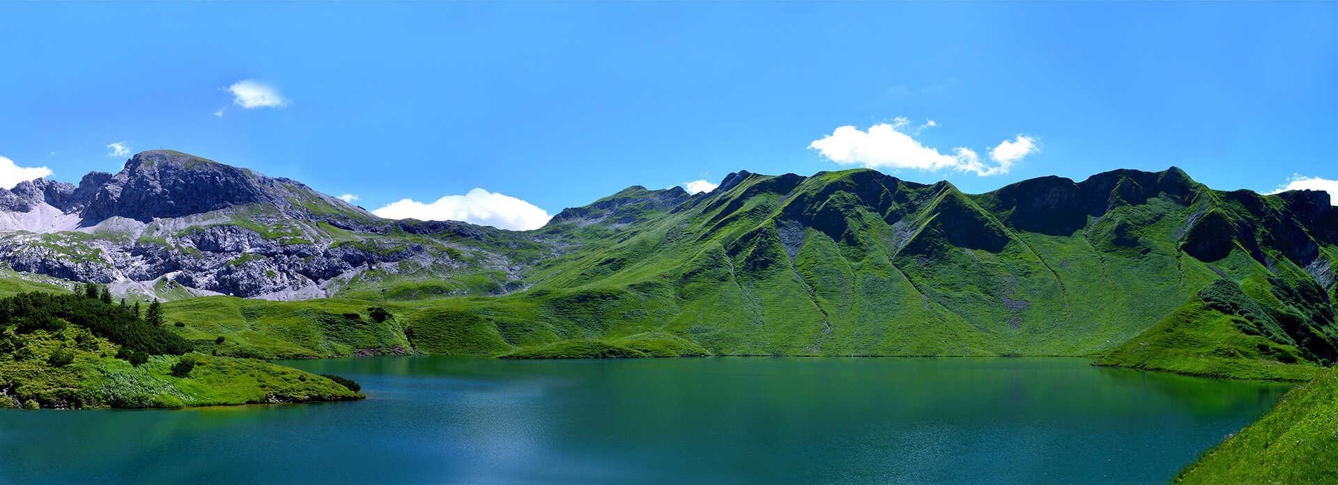 mountains with a lake